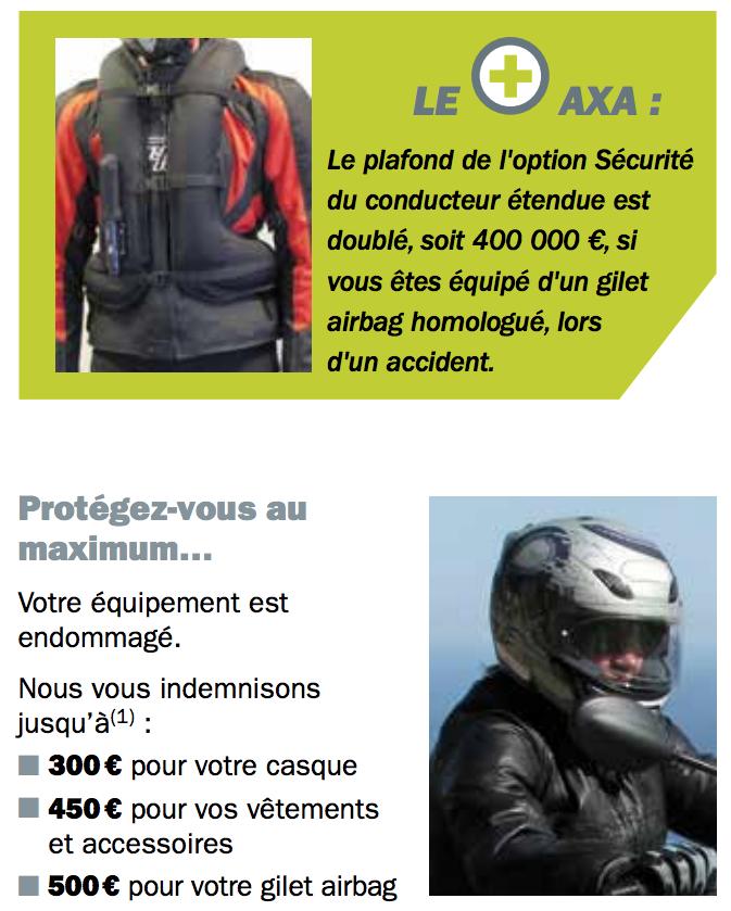 Sécurité du conducteur moto AXA Vlub 14